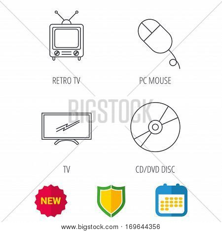 Retro TV, PC mouse and DVD disc icons. Widescreen TV linear sign. Shield protection, calendar and new tag web icons. Vector