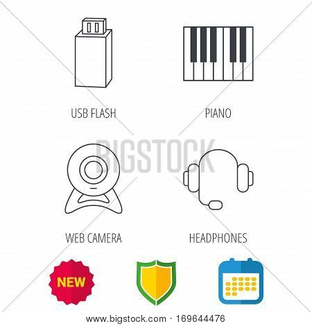 Web camera, headphones and Usb flash icons. Piano linear sign. Shield protection, calendar and new tag web icons. Vector
