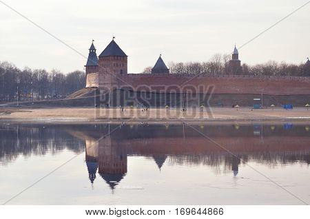 Novgorod Kremlin at the spring sunset in Veliky Novgorod Russia. Architecture landscape of Veliky Novgorod Russia landmarks