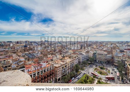 Aerial view of the old town in Valencia from cathedral tower; Piazza de la Reina