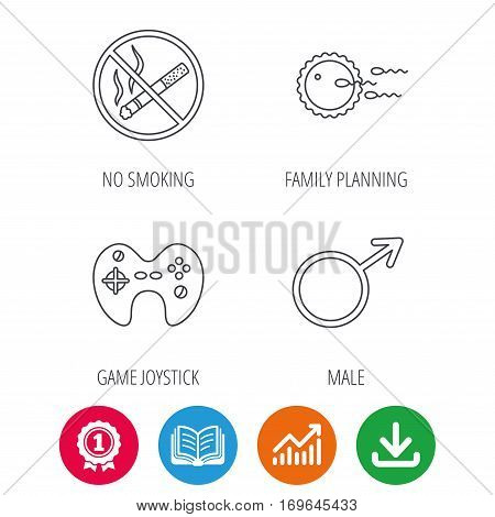No smoking, family planning and game joystick icons. Male linear sign. Award medal, growth chart and opened book web icons. Download arrow. Vector