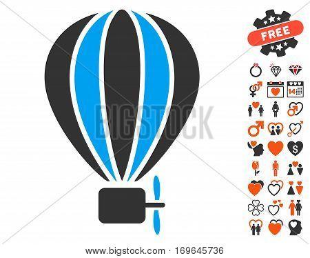 Aerostat Balloon pictograph with bonus lovely symbols. Vector illustration style is flat iconic symbols for web design app user interfaces.