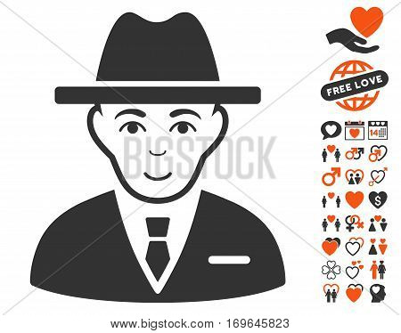 Agent icon with bonus lovely images. Vector illustration style is flat iconic symbols for web design app user interfaces.