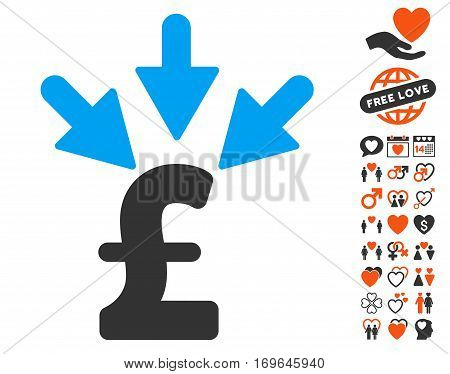 Aggregate Pound Payment icon with bonus dating graphic icons. Vector illustration style is flat iconic symbols for web design app user interfaces.
