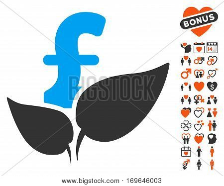 Agriculture Pound Startup pictograph with bonus decoration symbols. Vector illustration style is flat iconic symbols for web design app user interfaces.