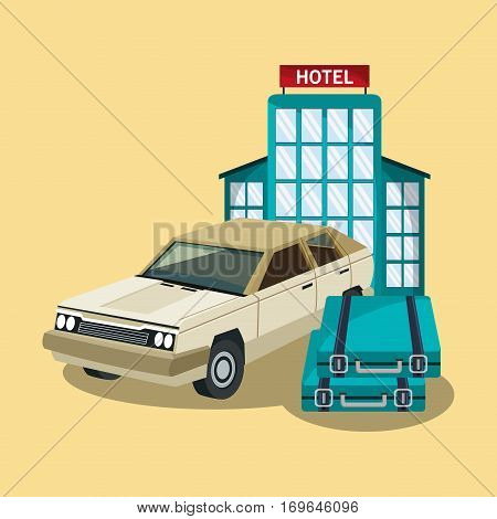 hotel building, briefcases and hotel building over yellow background. colorful design. vector illustration