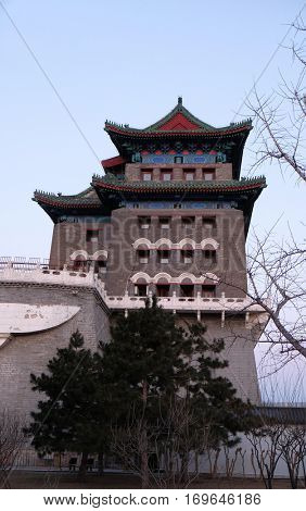 BEIJING - FEBRUARY 22, 2016: Archery Tower of Zhengyangmen is a gate in Beijing's historic city wall situated to the south of Tiananmen Square and once guarded the southern entry into the Inner City