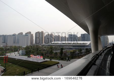 HANGZHOU - FEBRUARY 21: Cityscape and skyline of Hangzhou view from Hangzhou East railway station in Hangzhou city, China, February 21, 2016.