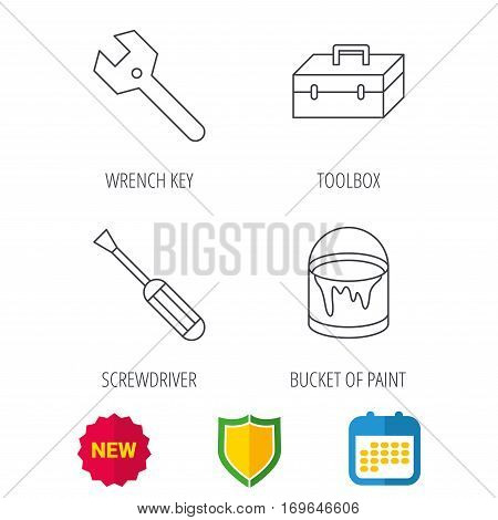 Wrench key, screwdriver and paint bucket icons. Toolbox linear sign. Shield protection, calendar and new tag web icons. Vector