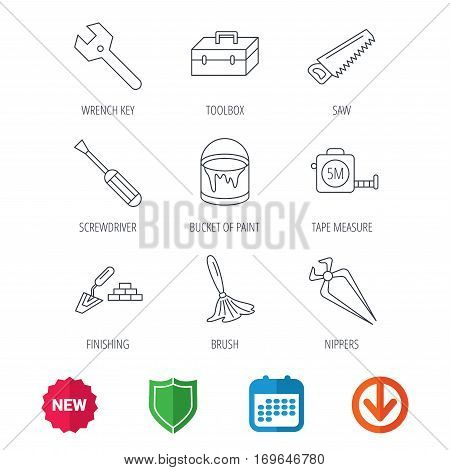 Wrench key, screwdriver and paint brush icons. Toolbox, nippers and saw linear signs. Finishing spatula icon. New tag, shield and calendar web icons. Download arrow. Vector