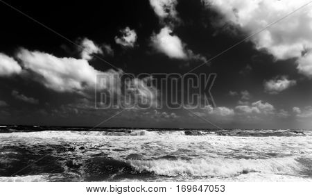 Black and White image of the Atlantic Ocean from a beach on the Outer Banks, North Carolina, USA