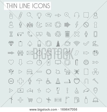 Thin line icons illustration on light blue background