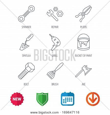 Spanner repair tool, spatula and bolt icons. Bucket of paint, axe and brush linear signs. Drill, pliers flat line icons. New tag, shield and calendar web icons. Download arrow. Vector