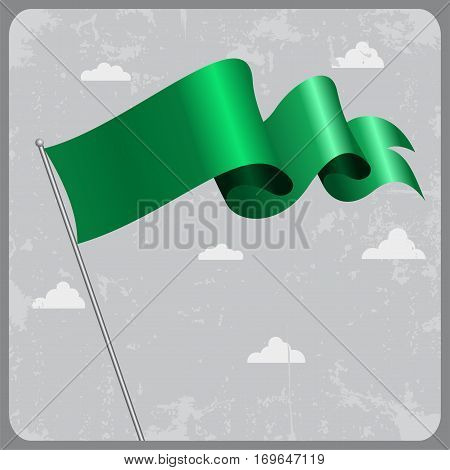 Libyan flag wavy abstract background. Vector illustration.