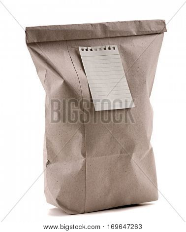 Paper Bag with Adhesive Note