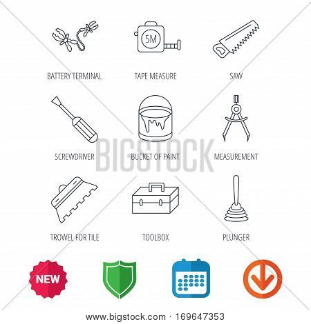 Screwdriver, plunger and repair toolbox icons. Trowel for tile, bucket of paint linear signs. Measurement, battery terminal icons. New tag, shield and calendar web icons. Download arrow. Vector