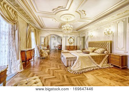 Russia , Moscow region - luxury bedroom interior in the new rich country house