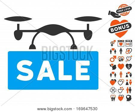 Airdrone Sale pictograph with bonus valentine pictograms. Vector illustration style is flat iconic symbols for web design app user interfaces. poster