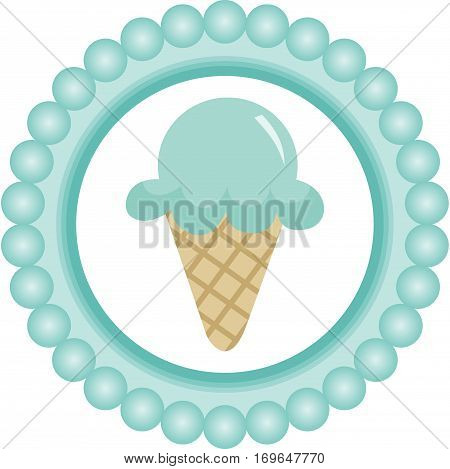 Scalable vectorial image representing a blue ice cream round label, isolated on white. EPS 10.