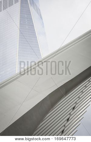 NEW YORK - SEPT 11 2016: Low angle view of the arched wing exterior of the Oculus structure of the World Trade Center transit hub in Lower Manhattan.