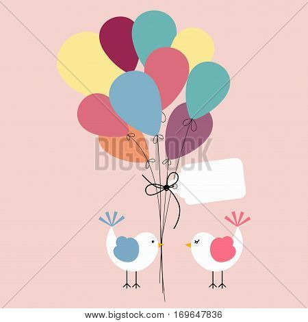 Scalable vectorial image representing a cute birds with balloons background greeting.