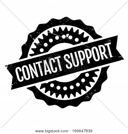 Contact Support rubber stamp. Grunge design with dust scratches. Effects can be easily removed for a clean, crisp look. Color is easily changed.