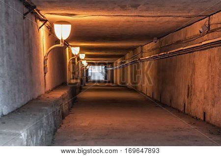 View of an empty subterranean passage. Underground tunnel.