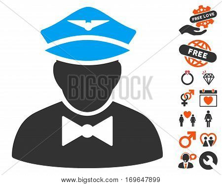Airline Steward pictograph with bonus love pictograms. Vector illustration style is flat iconic symbols for web design app user interfaces.