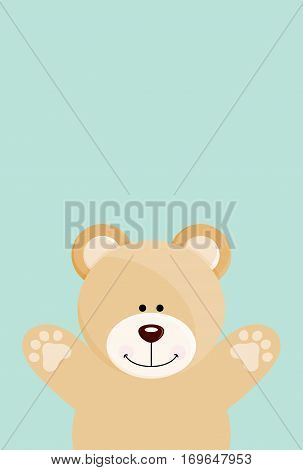 Scalable vectorial image representing a teddy bear open arms on blue background.