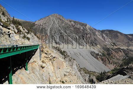 Tioga Pass, Yosemite National Park - Photographed looking east along California State Route 120, through the Sierra Nevada mountains.
