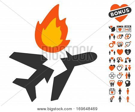 Airplane Crash icon with bonus passion graphic icons. Vector illustration style is flat iconic symbols for web design app user interfaces.