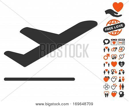 Airplane Departure icon with bonus decorative symbols. Vector illustration style is flat iconic elements for web design app user interfaces.