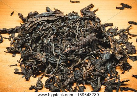 This Ceylon black tea in dried form on the table