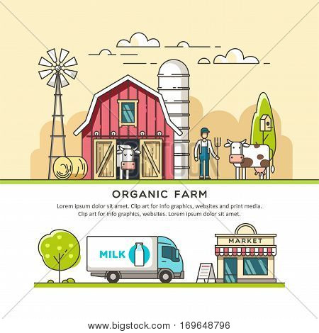 Organic farm. Milk production. Delivery dairy product. Vector illustration in linear graph.