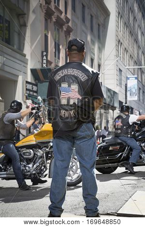NEW YORK - SEPT 11 2016: Bikers from American Brotherhood MC on their annual Honor Ride in Lower Manhattan commemorating the 9/11 terrorist attacks.
