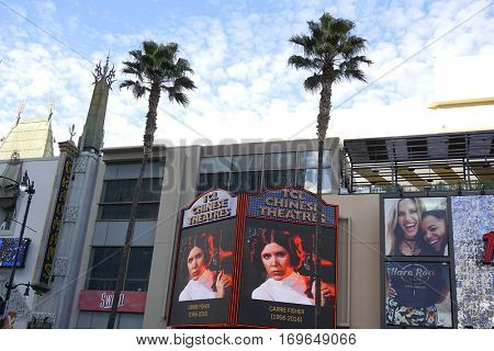 LOS ANGELES - DEC 29: The TCL Chinese Theatre IMAX pays tribute to actress Carrie Fisher on the Hollywood Walk of Fame on December 29, 2016 in Los Angeles, California
