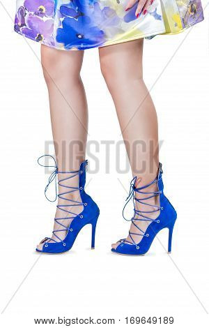 Womens legs in shoes on the white background