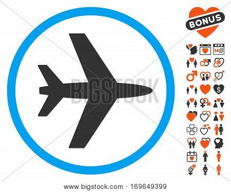 Airport pictograph with bonus decoration icon set. Vector illustration style is flat iconic symbols for web design app user interfaces.