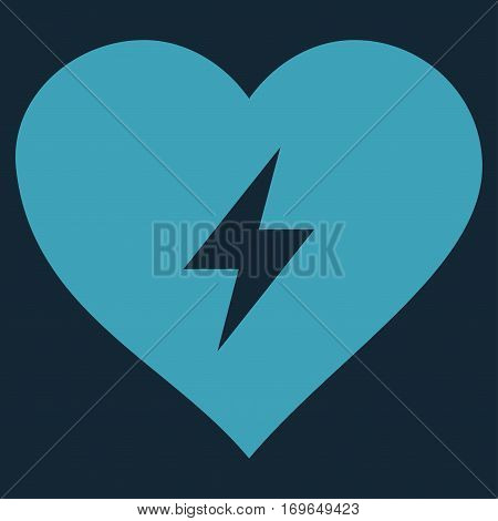 Heart Power flat icon. Vector blue symbol. Pictogram is isolated on a dark blue background. Trendy flat style illustration for web site design logo ads apps user interface.