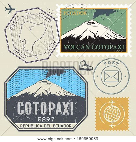 Post stamp set with the Cotopaxi Volcano active stratovolcano in the Andes Mountains Ecuador. Adventure outdoor Expedition mountain vector illustration