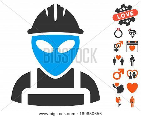 Alien Worker pictograph with bonus passion symbols. Vector illustration style is flat iconic elements for web design app user interfaces.