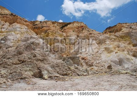 Inside the Stefanos volcano crater on the Greek island of Nisyros.