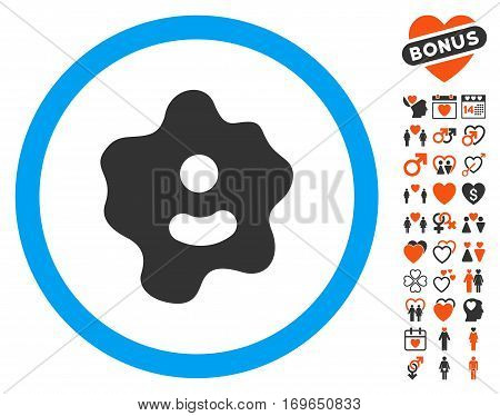 Ameba pictograph with bonus amour pictograms. Vector illustration style is flat iconic elements for web design app user interfaces.