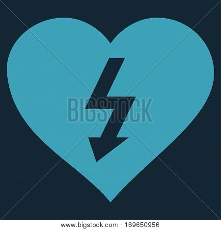 Power Love Heart flat icon. Vector blue symbol. Pictograph is isolated on a dark blue background. Trendy flat style illustration for web site design logo ads apps user interface.