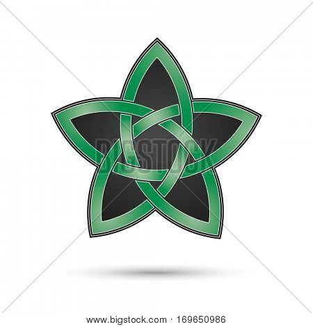 celtic knot pentagram, green, white and black