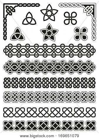 Traditional Celtic knotted, weaved and braided elements with borders, corners and embellishments poster