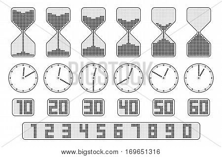 Flat thin line elements for infographics. Hourglass clock an digital time indicator. Concept vector icon set represent ten seconds time interval icons of sandglass watch and timer. Dots digit set.
