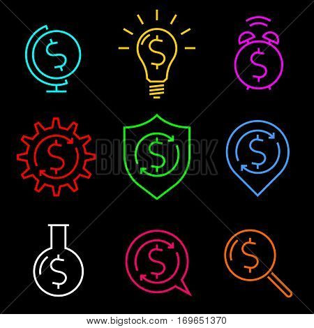Dollar sign metaphors set. Thin line concept infographic elements on dark background. Vector icons represent ideas: make money protect savings spend money money works money order earn money.