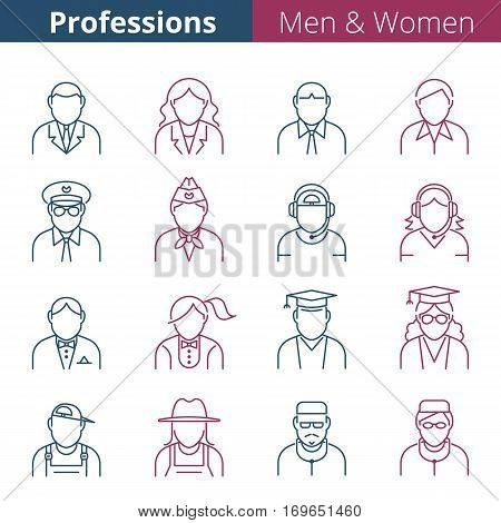 Thin line people avatar icons. Male and female professions and occupations. Suitable for infographics web social networks. Man and woman vector avatar silhouettes.