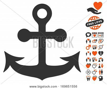 Anchor icon with bonus decorative pictograph collection. Vector illustration style is flat iconic elements for web design app user interfaces.